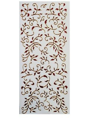 LEAF FLOURISH Peel Off Stickers Borders Demask Red Black Gold Silver Glitter 3