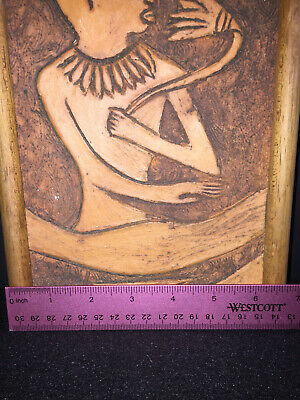 2  Antique Terracotta Carved Wall Plaque, Art, Egyptian Folk Art Signed, Nice 9