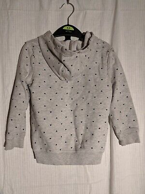 George Light Grey with Hearts in a polkadot pattern Hoodie, Age 3-4 2