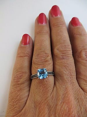 New Genuine Swiss Blue & Smoky Brown Topaz Ring 925 Sterling Silver Size 7 #006 8