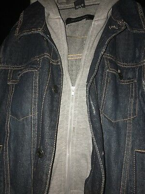 Boys Calvin Klein Jean Jacket Hoodie Size M Used With Stain/damage On Grey Hood 5