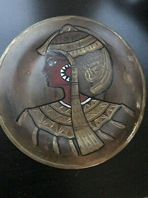 Pair of Vintage Copper Brass Silver Egyptian Plates - wall hangings 4