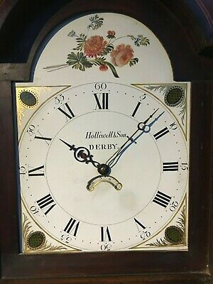 Antique painted dial longcase clock signed Holliwell & son Derby (30 hr) 3