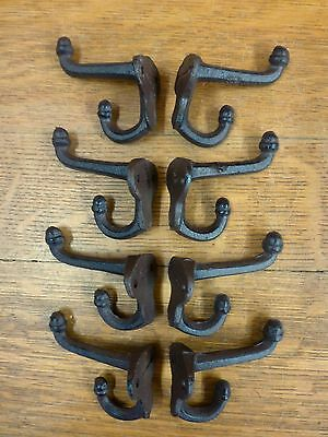 "8 BROWN ANTIQUE-STYLE DOUBLE SCHOOL COAT HOOKS RUSTIC CAST IRON 3"" wall hardware"