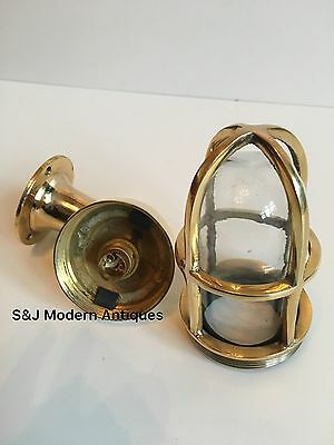 Vintage Industrial Wall Light Antique Retro Cage Bulkhead Gold Brass Ship Lamp 11