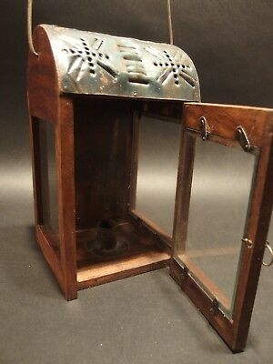 Antique Style Wood Punched Tin Glass Lantern Lamp Candle Holder 5