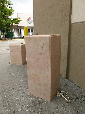 Tall Mid Century 70's  Pink Marble Pedestal W Built In Brass Light # 1 - P 8
