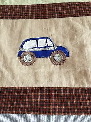 """Handmade quilt """"little vehicles"""" with applique size 53.5"""" x 51.5"""""""