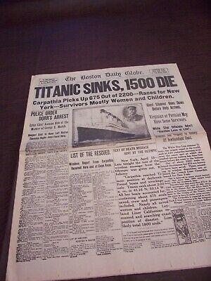 TITANIC NEWSPAPER 1912 Boston Globe/Marsh Murder Story/Ty Cobb Quits Team  !!!!! 2