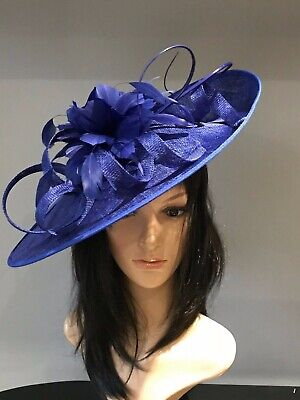 YELLOW AND NAVY WEDDING ASCOT DISC HATINATOR Mother Of The Bride Hat OCCASION 10