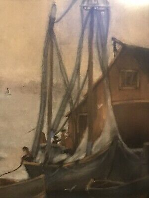 Vintage,Original Gouache/Opaque Water Paint Seascape Painting,At Portside, Large 4