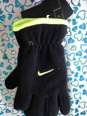 Nike Youth Boy's Gloves Color Blk/Volt For Snow, Winter Hand Gloves New with Tag 3