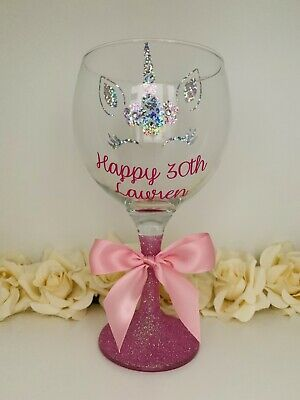 Any Name Personalised Unicorn Gin Glass Birthday Gift 18th 21st 30th 40th