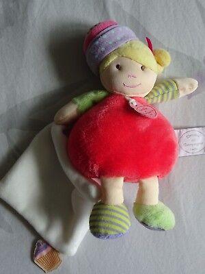 Doudou Et Compagnie Les Demoiselles Cupcake Corail 20 Cm Doudou Mouchoir Hochet 2