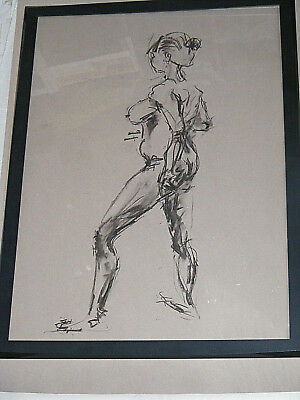 Figure life drawing nude expressive, charcoal / paper, woman standing, A1 size @ 2