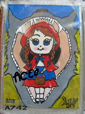 "A864 Original Acrylic Art Aceo Painting By Ljh  ""Picasso Lady"" 4"