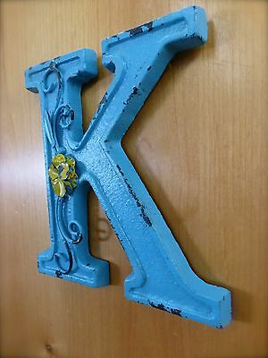 """BLUE CAST IRON WALL LETTER """"K"""" 6.5"""" TALL rustic vintage decor sign child nursery 4"""