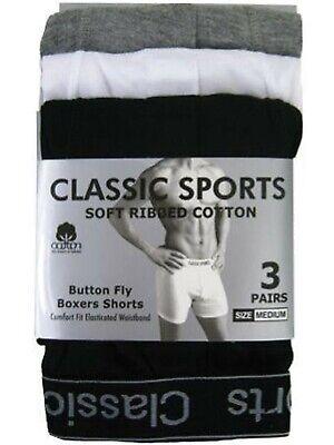 12 Pairs Mens Designer Classics sports  Rib Plain Cotton Boxer Short Underwear 4
