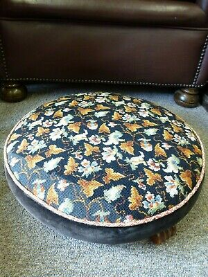Vintage Elizabeth Bradley Persian embroidery tapestry footstool wood feet 7