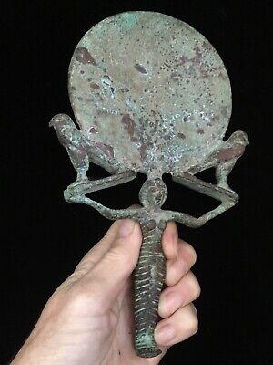 Egyptian Bronze Mirror w/ Caryatid Handle and Horus Falcons 10