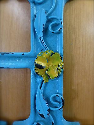 """BLUE CAST IRON WALL LETTER """"H"""" 6.5"""" TALL rustic vintage decor sign child nursery 4"""