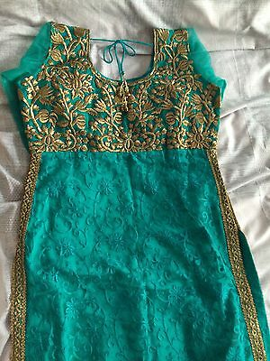 New Indian Asian Turquoise And Gold dress Churidar And kameez 7