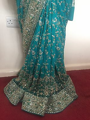 Indian Bridal Engagement Wedding Sari Blue Green Turquoise 3 Piece Dupatta Heavy 8
