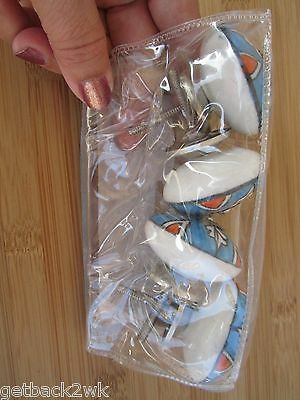 NEW Drawer Pulls Set of 4 Ceramic Ivory Blue Orange Knobs Knob 2