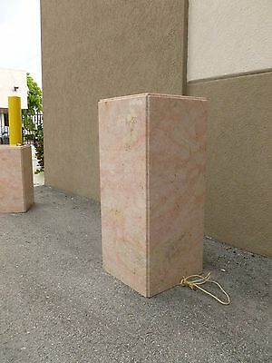 Tall Mid Century 70's  Pink Marble Pedestal W Built In Brass Light # 1 - P 2