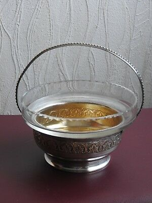 Ancien Sucrier Confiturier En Metal Argente Cristal Centre De Table Cobalt Sugar 5