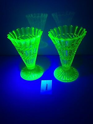 PAIR OF ANTIQUE c1880 HENRY GREENER GREEN VASELINE / URANIUM GLASS TRUMPET VASES 10