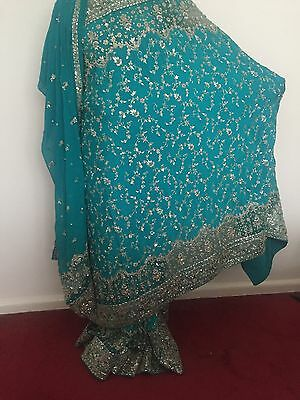 Indian Bridal Engagement Wedding Sari Blue Green Turquoise 3 Piece Dupatta Heavy 10
