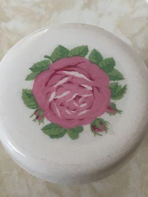 Vintage Salvage White Ceramic Pink Rose Drawer Pulls Qty Of 7 8