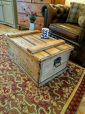 Antique Pine Chest / Vintage Coffee Table / Trunk / Box / WW2 2