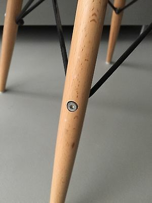 Vitra Original Charles Eames fibreglass upholstered chairs with dowel bases 11