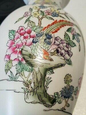 🔅 chine vase a décor oiseaux, papillons, floral à identifier 2