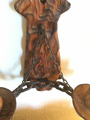 Antique Carved Wood & Metal Chain 2 Torch Style Candle Holder Wall Mount!!.🔥🕯 7
