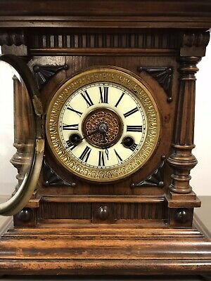 Victorian Black Forest Golden Oak 14 Day Mantle Clock By H.a.c. Working. 6