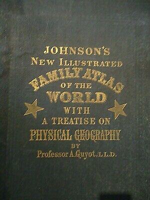 Vintage 1873 FRANCE SPAIN PORTUGAL MAP Old Antique Original Johnson Atlas Map 2