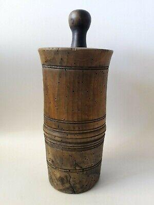 original antiker Apotheker Holz Mörser Stössel Pistill wohl Nussbaum 18. Jhd. 3