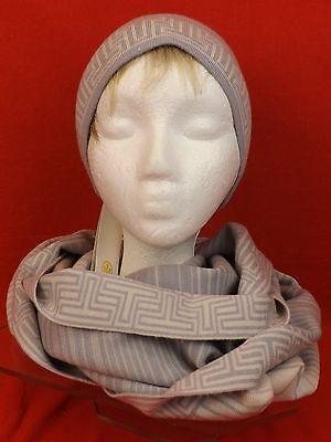 be223296c9b 9 of 12 Nwt Tory Burch Heather Gray Striped Merino Wool Logo Infinity Scarf    Hat Set
