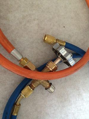 Propane Lpg Tank Gas Adaptor Hose For Refrigeration A/c Orange Hose Only 5