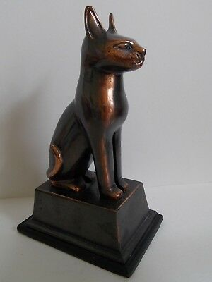 "19th - Antique / Vintage Egypt Egyptian Bronze Cat Figurine Statue 9"" 2"