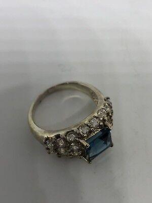 Deco Genuine London Blue Topaz Vintage 925 Sterling Silver Size 7 Ring 7