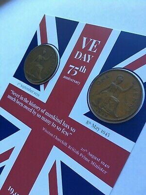 VE DAY FLAG 75th Anniversary Victory in Europe - Coins -1939 & 1945 8th May 2020 2