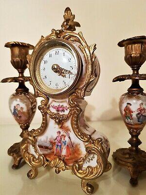 Antique French Gilt and Porcelain Mantel Clock Garniture. 4