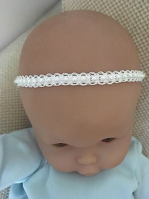 100+ Sold!!! Baby Girl Ivory Christening Headband Baptism Wedding Pearl Hairband 3