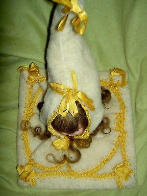 Charming antique German, Victorian era bisque doll shoulderhead sewing accessory 6