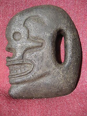 Mayan Skull Form Basalt Hacha from an Old California Collection with Data Tag 2