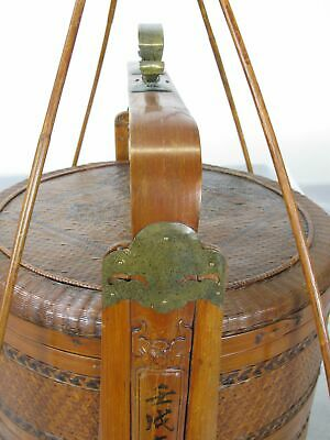 Chinese Antique Bamboo Food Box w Basket 7